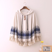 Japanese tassel cloak hooded coat