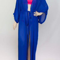 Chiffon  kimono Kaftan dressin royal blue, light weight elegant beach cover up,women's beach kaftan dress