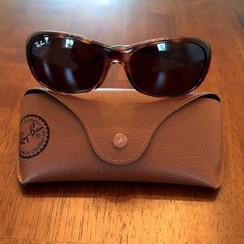LADIES RAY BAN RB4061 GLOSSY TORT B15 BROWN POLYCARBONATE POLARIZED SUNGLASSES