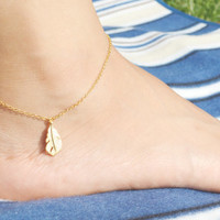 F-003 Feather anklet, Pendant, Simple, Modern anklet, Charm anklet, Gold plated/Everyday jewelry/