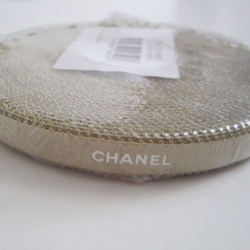 "Whole Roll of Authentic CHANEL Gold Ribbon with White Letters 3/8"" DIY Headband Hairbow / Gift Wrapping / Trim"
