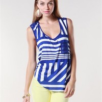 A'GACI Geo Chiffon Back Pocket Tank - Tops