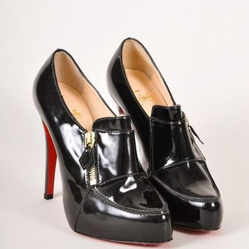 PEAP3D5 Christian Louboutin Black Patent Leather Loafer Lapono Booties