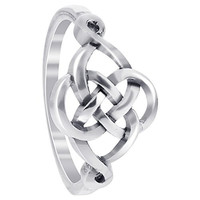 LWRS127-7 925 Sterling Silver Celtic Rounded Knot Design Ring