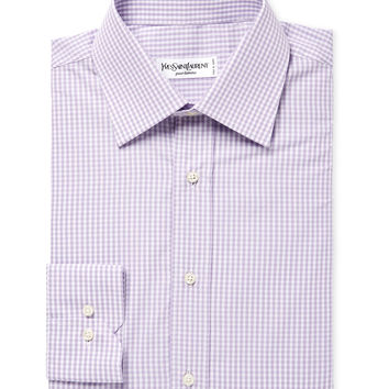 Yves Saint Laurent Pour Homme Men's Cotton Gingham Dress Shirt - Purple