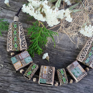 Ethnic necklace with polymer clay , african motifs, handmade jewelry,unuque jewelry,ivory necklace