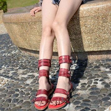 Brick Red Leather Straps Open Toe Sandals Cut Out Flat Gladiator Sandals