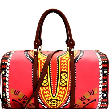 Dashiki Leather Dramatic Duffel Bag