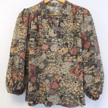 Vintage Retro 70s 80s Women's Gray Floral Long Sleeve Fall Blouse Shirt Prairie Tunic Hipster Boho Indie Chick Peasant Top Medium