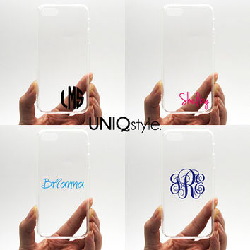 Personalized monogram custom name text transparent case for iPhone 4/4S/5/5S/5C Samsung Note3 S4 S5 with tpu edge w/extra protection - N37