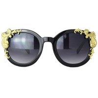 Black Cat Eye Sunglasses with Gold Vine Corner Decor