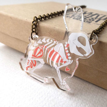 PRE-ORDER: Skeleton X-Ray Rabbit on Clear Acrylic Necklace