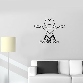 Wall Decal Men's Fashion Words Hat Style Phrase Vinyl Sticker (ed1119)