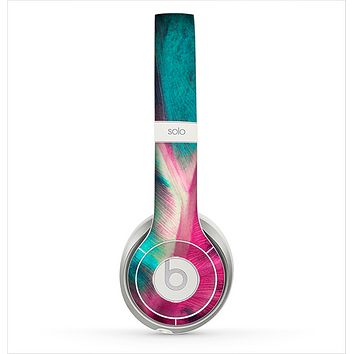 The Neon Pink & Green Leaf Skin for the Beats by Dre Solo 2 Headphones