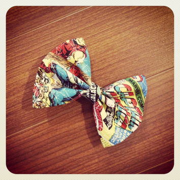 Hair Bow Vintage Inspired 1920s Comic Marvel Hair Bow Clip Rockabilly Pin up Teen Woman