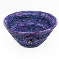 Purple and Blue Coiled Fabric Bowl, Basket