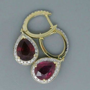 14KT Yellow Gold Pear 6x8mm Fancy 3.62Ct Natural Blood Red Ruby Drop Earring
