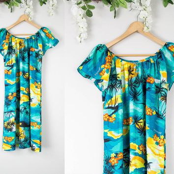 Vintage Hawaiian Off The Shoulder Dress