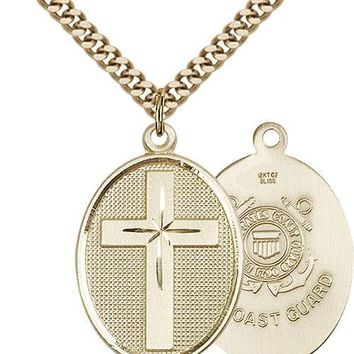 Men's 14K Gold Filled Cross Coast Guard Military Soldier Catholic Medal Necklace 617759931730