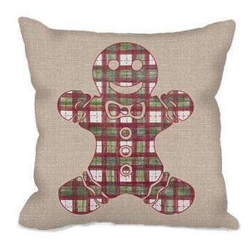 Gingerbread Man in Plaid Throw Pillow on burlap background