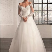 [165.99] Elegant Tulle Off-the-Shoulder Neckline A-line Wedding Dresses with Beaded Lace Appliques - Dressilyme.com