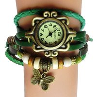 Antique Leather Bracelet Watch Vintage Women Wrist Watch Butterfly Pendant Synthetic Leather Strap dress Watch Relogio Feminino