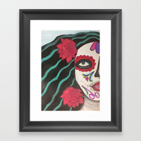 dia de los muertos beauty Framed Art Print by Express Yourself Studios, LLC