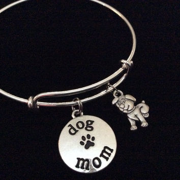 Dog Mom Silver Expandable Charm Bracelet Adjustable Bangle Gift Puppy