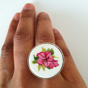 Pink Flower Adjustable Ring, Azaleas, Hand Painted Ring, Novelty Wood ring, Miniature Jewelry Pink and White Chunky Fashion Ring, Bold Style