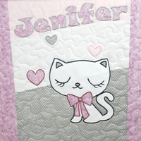 Personalized Baby Blanket, Kitty Crib Blanket, Custom Cat Quilt  Blanket, Soft Toddler Blanket, Gray Pink Purple White Baby Blanket,