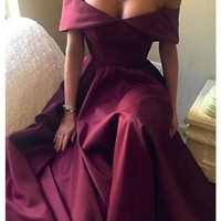 Long Off Shoulder Burgundy Red Long Satin Prom Dresses