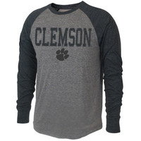 Clemson Tigers Badland Long Sleeve Tri-Blend T-Shirt – Ash/Black