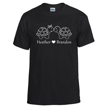 Turtle Couple Personalized with your Names T-shirt