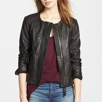 Women's Madewell 'Metropolis' Collarless Leather Jacket,
