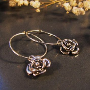 Natural fashion, Sterling silver hoop earrings with an oxidized black rose