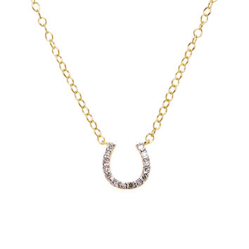 Danni Women's Gold & Diamond Horseshoe Pendant Necklace - Gold