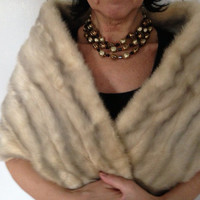 SALE // Vintage 1950s mink stole white/cream and gray