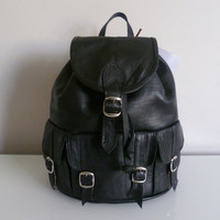 Sale was 5500 now 4500 Black leather backpack Small by nourleather