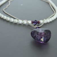 Sterling Silver Two Strand Rice Pearl & Purple Glass Bead Necklace with Swarvoski Crystals