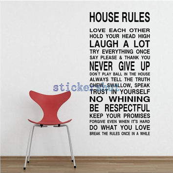 house rules wall decal  family rules decal house rules vinyl art stickers for home decor