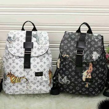 DCCK LV Louis Vuitton Cute Pattern Leather Travel Bag Backpack