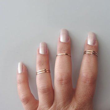 5 Above the Knuckle Rings  Rose gold plated thin shiny by AlinMay