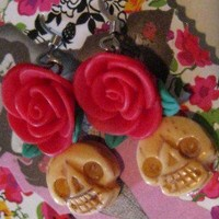 Skull Rose Earrings