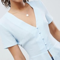 Missguided Tall Button Detail Peplum Blouse at asos.com