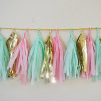 Tassel Garland Inspired by Pink Sorbet and Mint Chip Ice Cream