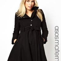 ASOS Maternity | ASOS Maternity Fit and Flare Coat with Popper Front at ASOS
