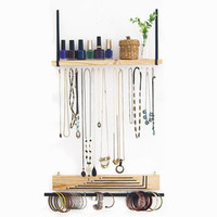 Jewelry Display Wall Hanging Solid Wood Shelf Jewelry Organizer Hand Made Jewelry Holder And Storage Necklace display Brecelet Display