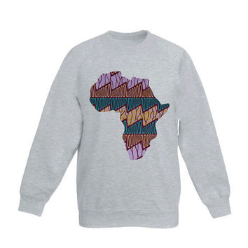Sweater Grey with Africa Shape application, made out of Holland Vlisco waxprint, print of turkoise, brown, purple, streetwear, urban