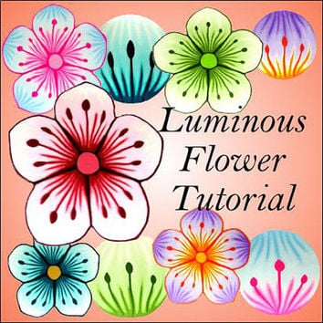 NEW tutorial - LUMINOUS flower cane - pdf polymer clay cane