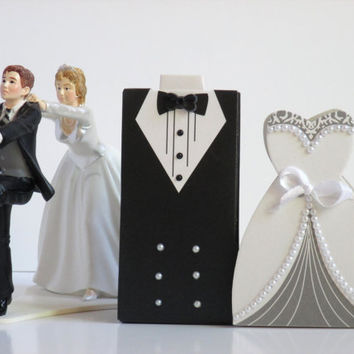 150 Wedding Favor Candy Boxes and Ribbon 75 Bride and 75 Groom Dress